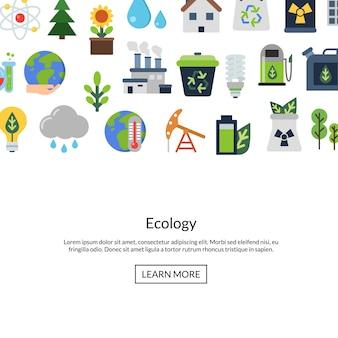 Jeu d'icônes plat écologie