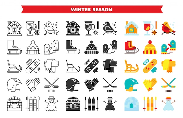 Jeu d'icônes plat glyphe ligne sport activité en plein air hiver, fun saison de l'hiver
