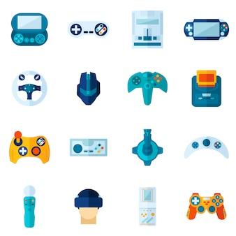 Jeu d'icônes plat de jeu vidéo