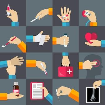 Jeu d'icônes plat mains médicales
