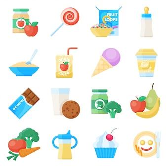 Jeu d'icônes plat de nourriture pour bébé