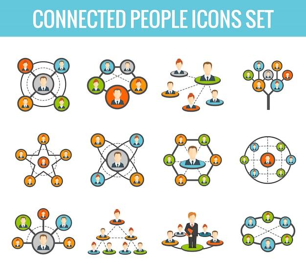 Jeu d'icônes plat personnes connectées