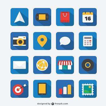 Jeu d'icônes plat pour le web et application mobile