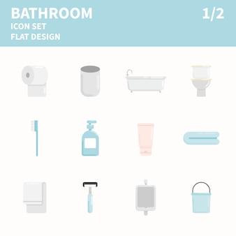 Jeu d'icônes plat de salle de bain