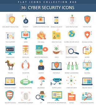 Jeu d'icônes plat de sécurité cyber.