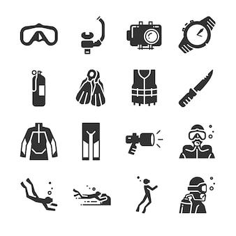 Jeu d'icônes de plongée sous-marine.