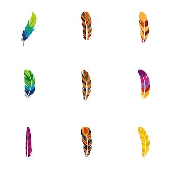 Jeu d'icônes de plumes indiennes, style plat