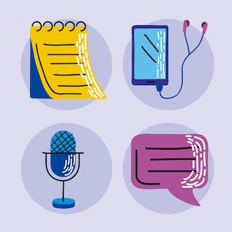 Jeu d'icônes de podcast