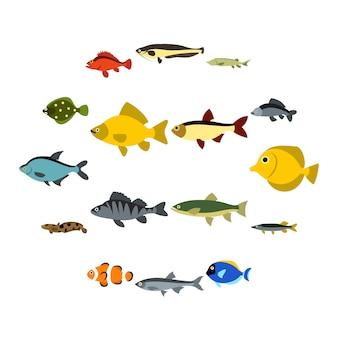 Jeu d'icônes de poisson, style plat