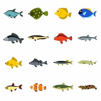 Jeu d'icônes de poisson