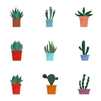 Jeu d'icônes de pot de cactus, style plat