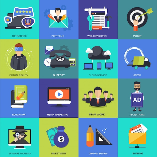 Jeu d'icônes pour les affaires, la gestion, la technologie et les finances