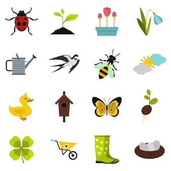 Jeu d'icônes de printemps