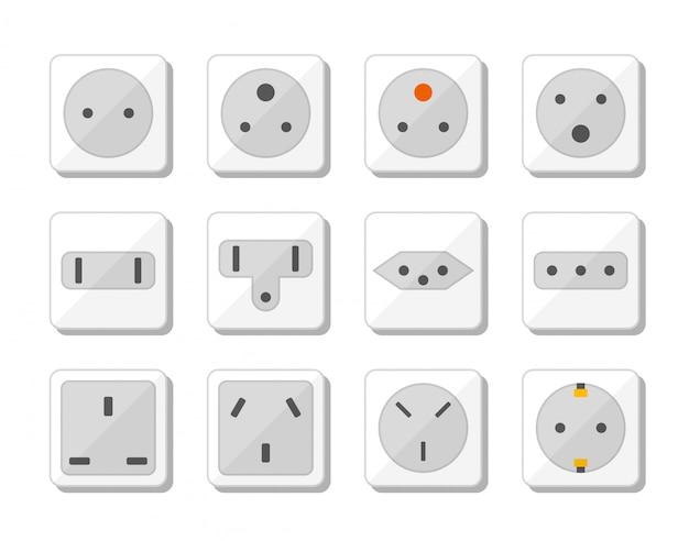 Jeu d'icônes de prise de courant. normes mondiales pour les prises de différents pays. illustration.