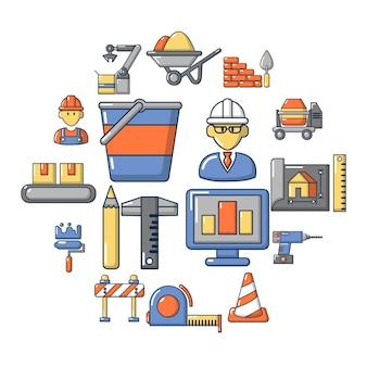 Jeu d'icônes de processus de construction, style cartoon