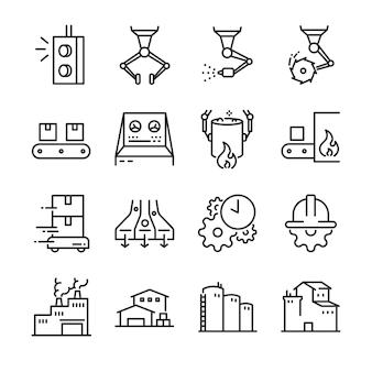 Jeu d'icônes de processus industriels.