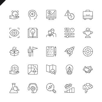 Jeu d'icônes de projet de démarrage de lignes fines et éléments de développement