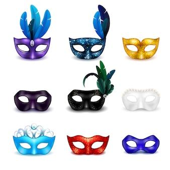 Jeu d'icônes réalistes de masque coloré mascarade isolé
