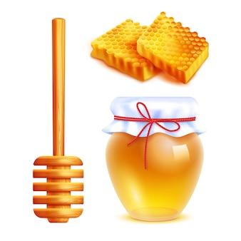 Jeu d'icônes réalistes de miel