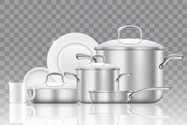 Jeu d'icônes réalistes de vaisselle et batterie de cuisine