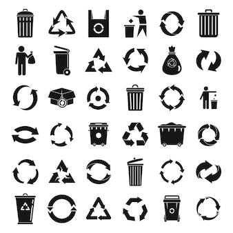 Jeu d'icônes de recyclage