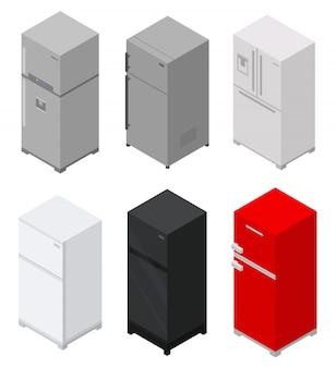 Jeu d'icônes de réfrigérateur, style isométrique