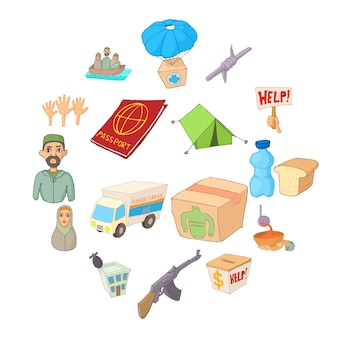 Jeu d'icônes de réfugiés, style cartoon