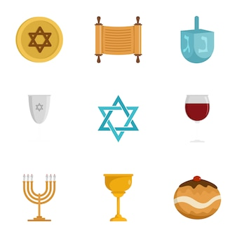Jeu d'icônes de religion juive, style plat