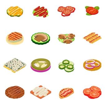 Jeu d'icônes de repas