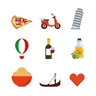 Jeu d'icônes de repères. conception de la culture de l'italie. graphique de vecteur