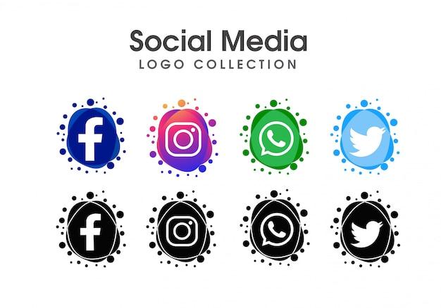 Jeu d'icônes de réseaux sociaux abstraite