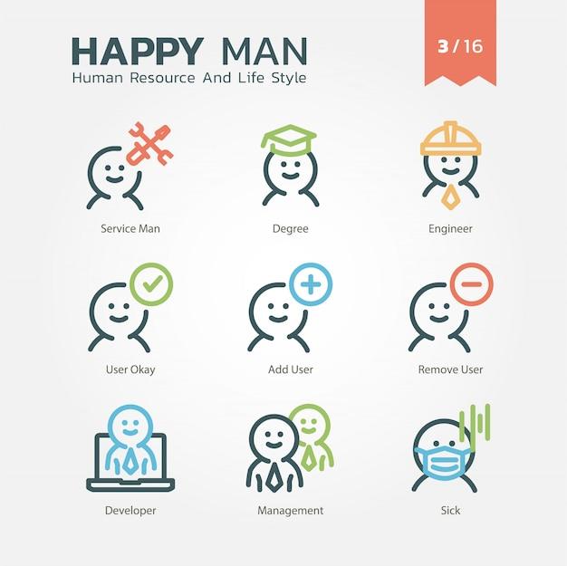 Jeu d'icônes de ressources humaines et de style de vie