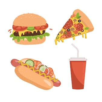 Jeu d'icônes de restauration rapide. comprend des illustrations d'une tranche de pizza, d'un hamburger, d'un hot-dog et d'une tasse de soda. flan dessiné à la main.