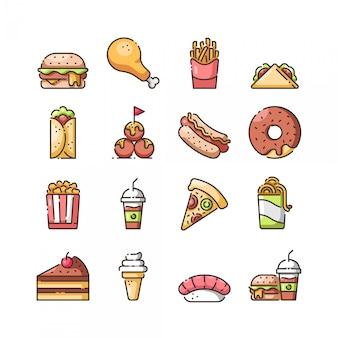 Jeu d'icônes de restauration rapide, vecteur et illustration