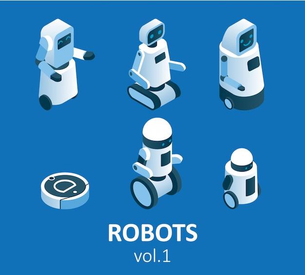 Jeu d'icônes de robotique moderne isométrique