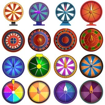 Jeu d'icônes de roulette, style cartoon