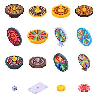 Jeu d'icônes de roulette, style isométrique