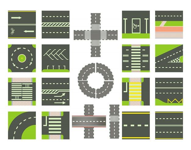 Jeu d'icônes de routes