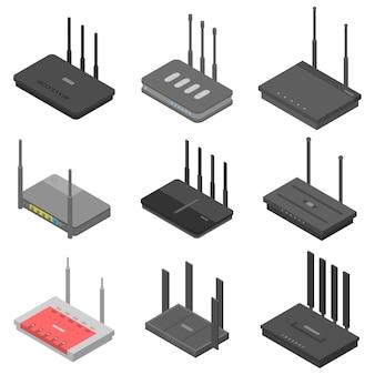 Jeu d'icônes de routeur, style isométrique