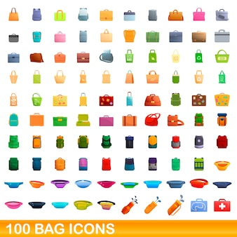 Jeu d'icônes de sac. bande dessinée illustration d'icônes de sac sur fond blanc