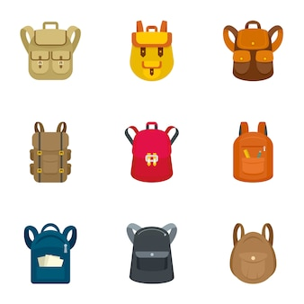 Jeu d'icônes de sac à dos d'école. ensemble plat de 9 icônes vectorielles de sac à dos scolaire