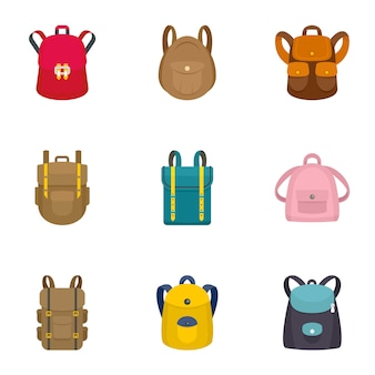 Jeu d'icônes de sac à dos moderne. ensemble plat de 9 icônes de sac à dos moderne