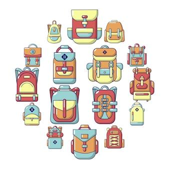 Jeu d'icônes de sac à dos, style cartoon