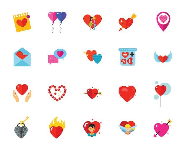 Jeu d'icônes de la saint-valentin
