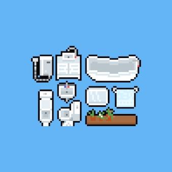 Jeu d'icônes de salle de bain et toilettes de dessin animé pixel art.