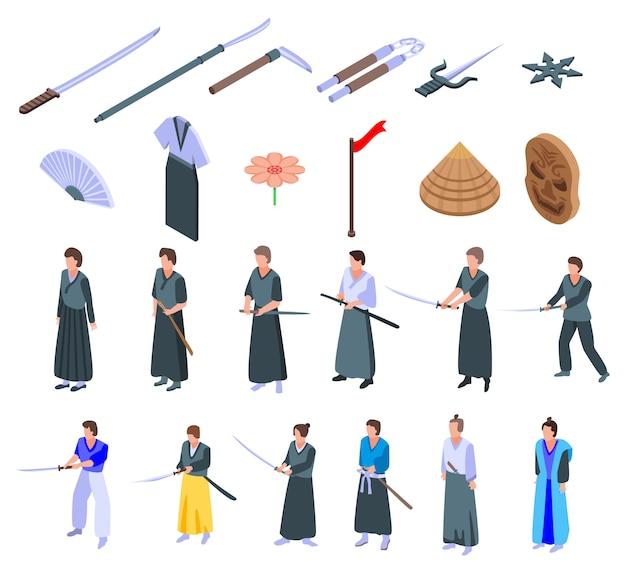 Jeu d'icônes samurai, style isométrique