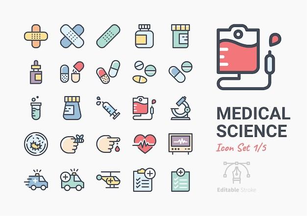 Jeu d'icônes de la science médicale