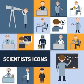 Jeu d'icônes de scientifiques