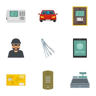 Jeu d'icônes de sécurité argent. ensemble plat de 9 icônes vectorielles de sécurité argent