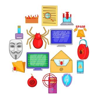 Jeu d'icônes de sécurité informatique, style cartoon